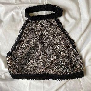 Black and beige lace bralette crop top